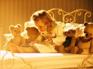 Bedtime Stories-Little Girl Reading-Bears on Bed