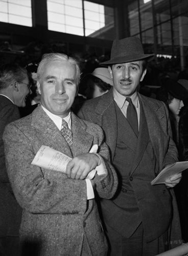 Charlie Chaplin and Walt Disney, 1930s.