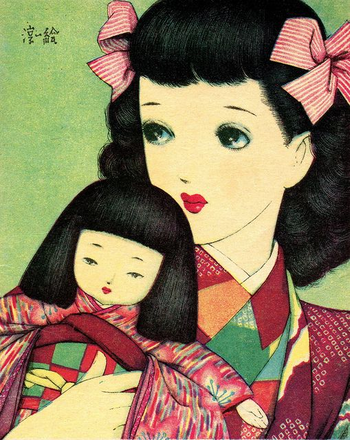 Girl holding a Doll by Junichi Nakahara 1930s . He was one of the pioneers of the 'big eyed' art form that was to become Manga.
