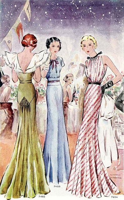 Stijlvolle avondjaponnen, 1930. Stylish evening gowns, 1930.