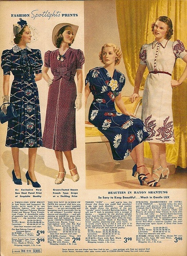 Pagina uit een Sears catalogus, 1938. Sears advertisement, 1938.