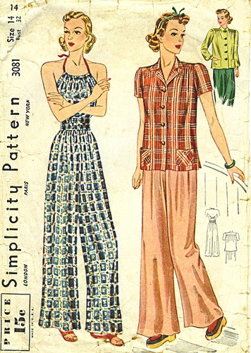 Completely comfy looking, 1930s pajamas.