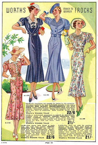 Lente/Zomer mode, 1937. Spring/Summer fashion, 1937.
