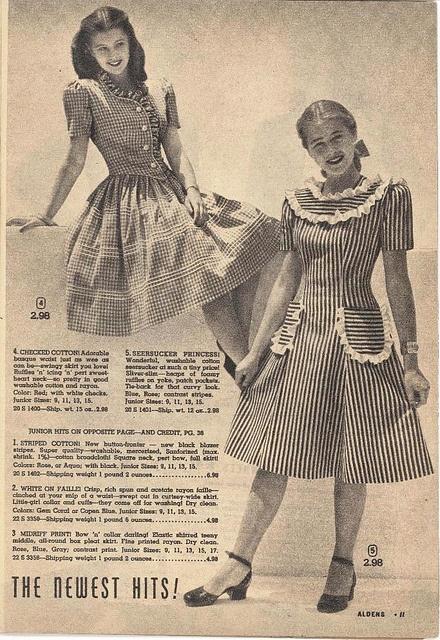 Mode voor tienermeisjes. Alden's catalogus, 1946.
