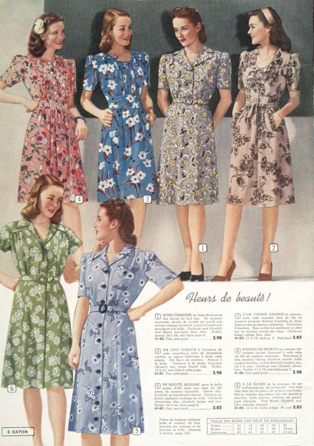 Een pagina uit een Eaton's catalogus (mail- order catalogus uit Canada welke bestaan heeft  van 1884 to 1976), lente/zomer 1945.