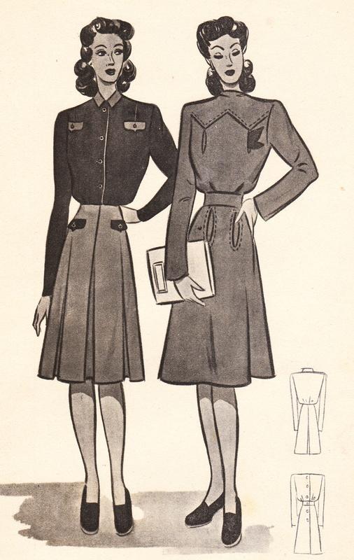 Pagina uit een fashion magazine, oktober, 1944.