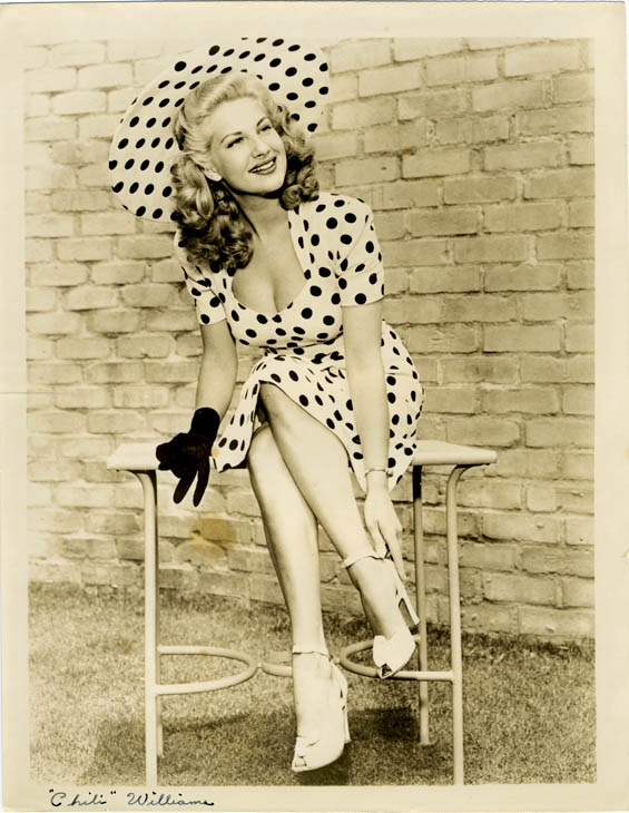 Actrice Chili Williams in de jaren 40. Polka dots!