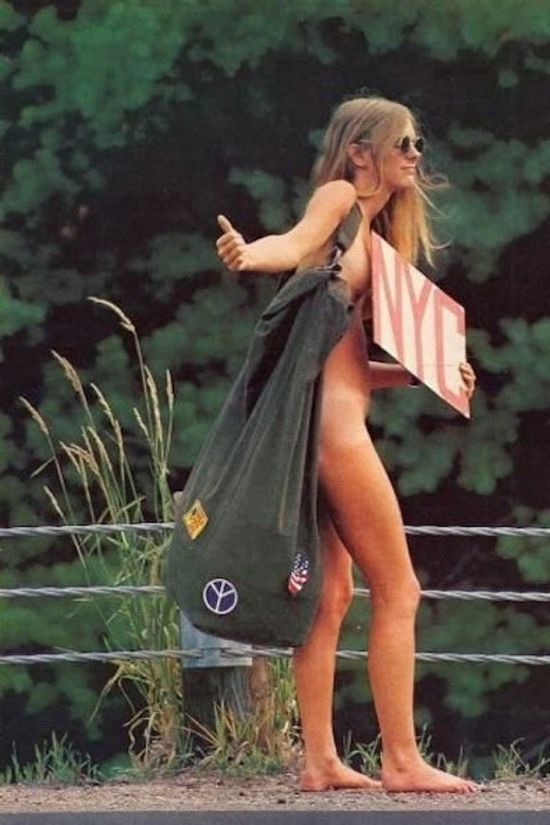 Naked hitchhiking hippie.