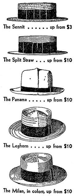 Mannenmode! Summery straw hats, 1928.