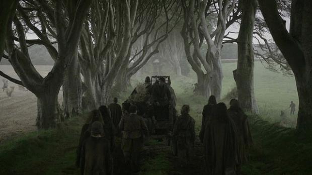 Een scene uit episode 1 van het 2e seizoen Game of Thrones. Dark Hedges werd hier gebruik als perfecte filmlocatie.