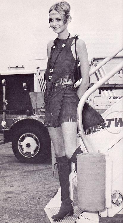 Twiggy in boho hippie stijl., 1967.