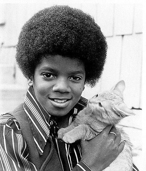 Michael Jackson holden a cute kitten, 1970s.