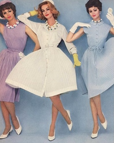 A trio of lovely springtime hued early 1960s frocks.
