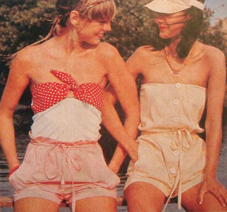 Summer playsuits in the 1970s.