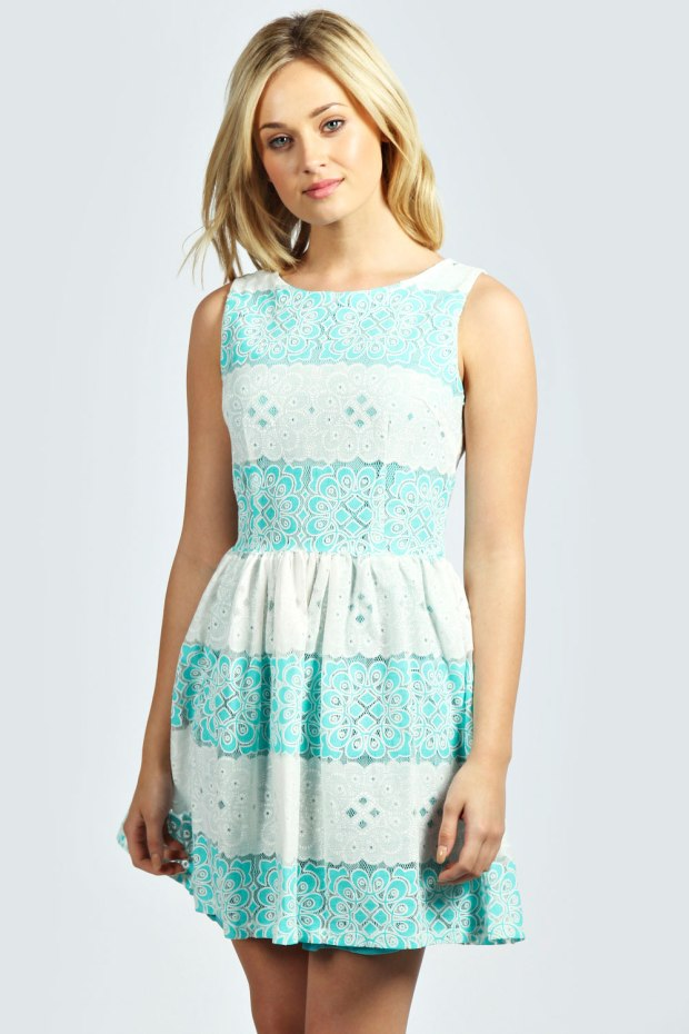 Pam Patterned Contrast Lace Woven Skater Dress in Turquoise Blue, €21,99