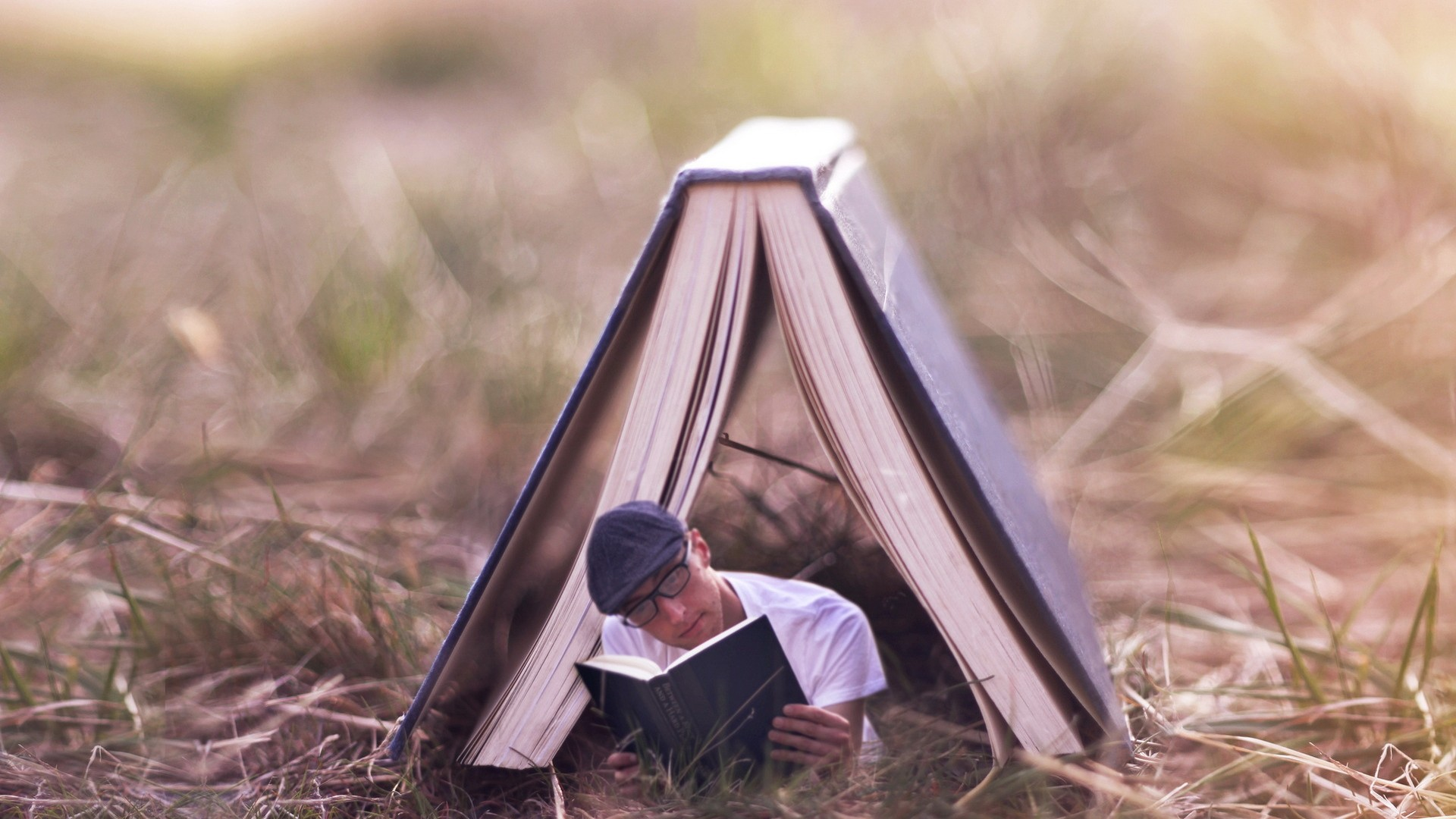 Boy Reading Books Wallpaper