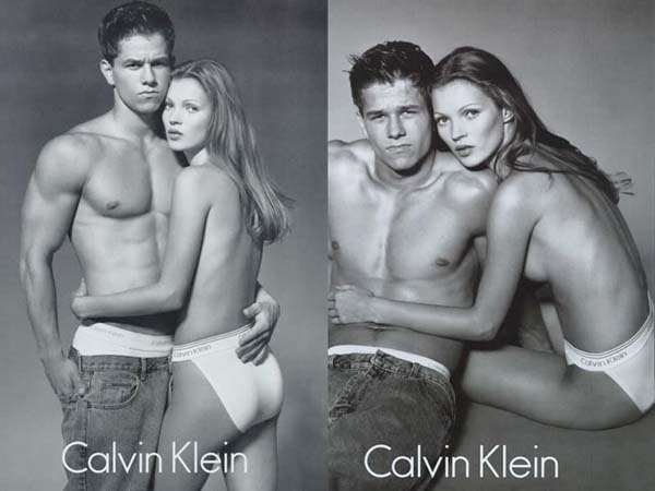 Mark Wahlberg en Kate Moss, Calvin Klein advertentie, 1992.