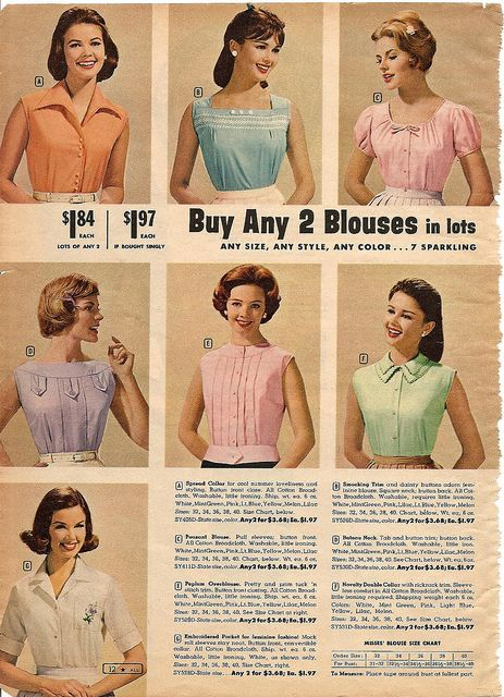 Sweetly sorbet hued, timelessly pretty summer top and blouse styles from 1961.