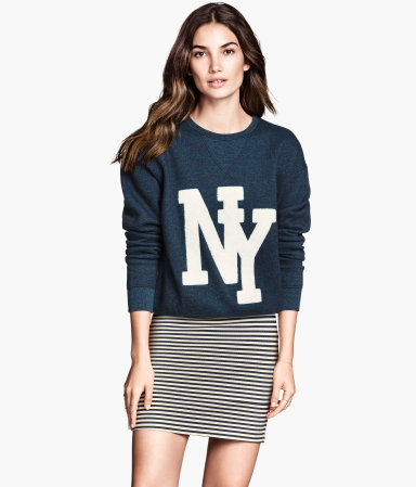 Gemêleerde sweater in donkerblauw, €24,99