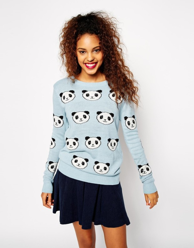 ASOS Jumper With Panda's in Light Blue, €45.72