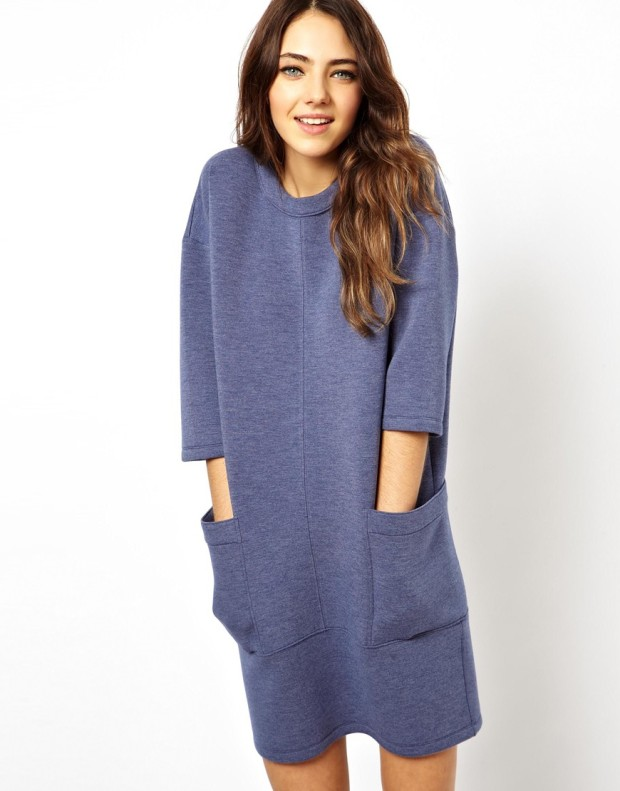 ASOS Premium Jumper Dress In Bonded Marl in Blue, €37.14