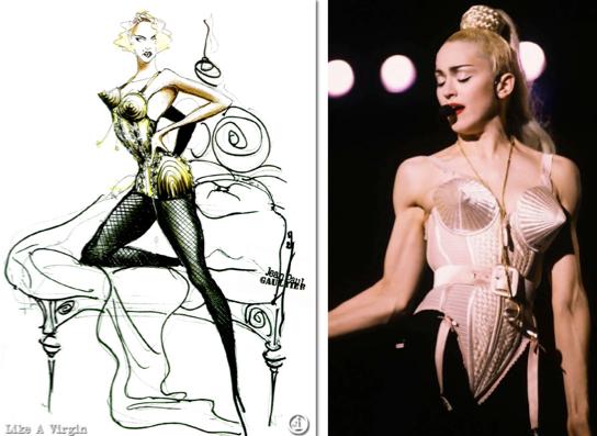Madonna in een cone bra ontworpen door Jean Paul Gaultier, 1990.