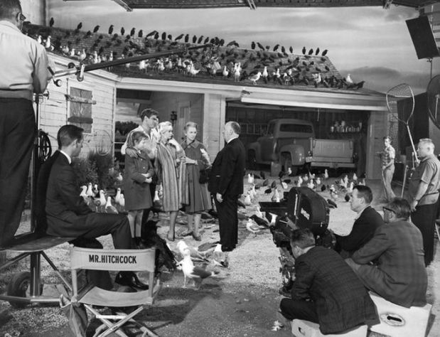 Hitchcock, cast en crew van de film The Birds.