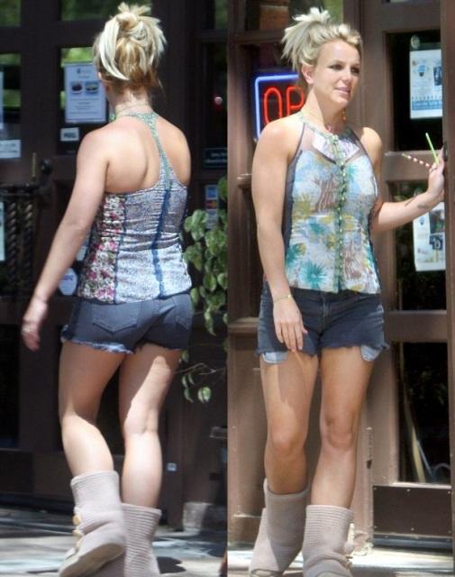 Queen of pop Britney Spears slaat hier echt een mega mode flater. Dit kan écht niet Brit! Onverzorgd, tikkeltje ordi, en de hele outfit klopt gewoon van geen kant. Huge nay!