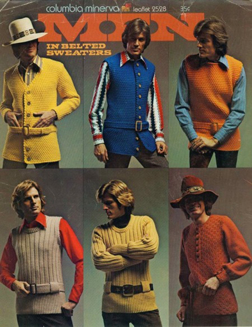 Belted sweaters voor mannen. What were they thinking?!