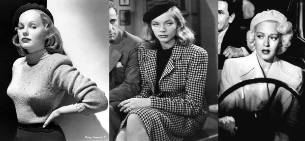 Vintage movies! Peggy Cummins in Gun Crazy, Lauren Bacall in The Big Sleep, en Lana Turner in The Postman Always Rings Twice. All very pretty.