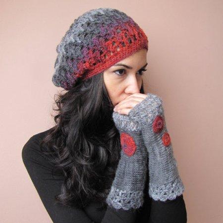 HOPE Elegant crochet beret hat in grey, charcoal, raspberry red and purple €20,72. Gevonden in de Etsy Shop van Elfinhouse en