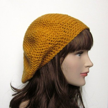 Mustard Yellow Slouch Beret - Womens Slouchy Crochet Hat - Ladies Oversized Tam €19.12. Gevonden in de Etsy Shop ColrMyWorldCrochet en