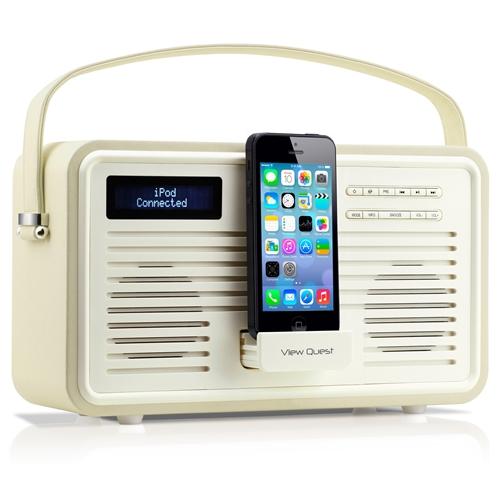 De vintage look brengt je terug naar de jaren '70, de functies zijn van nu! Met de View Quest Retro Radio luister je muziek via de FM of DAB radio of door een iPhone/iPod aan te sluiten via de 8-pins dock. De radio is ook als wekker te gebruiken.  Prijs €129,99.