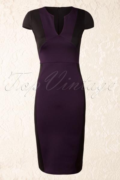 Maak een statement met deze pittige 50s Trixie Pencil Dress in Black and Purple! €39,95.