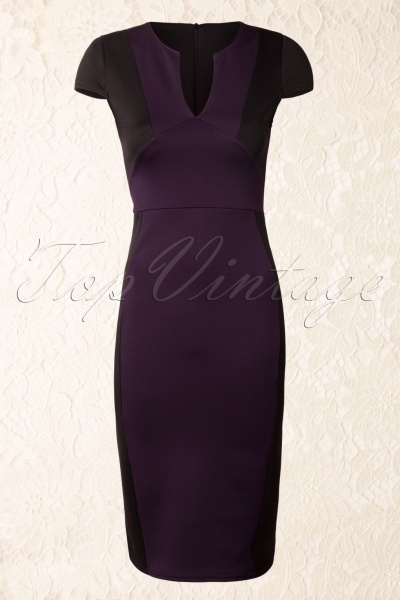 Maak een statement met deze pittige 50s Trixie Pencil Dress in Black and Purple! €39,95.