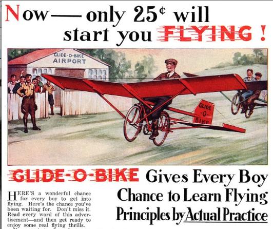 Een advertentie uit 1931. De Gilde-O-Bike. Questionable? Definitely! Maar deze vind ik stiekem best erg tof!
