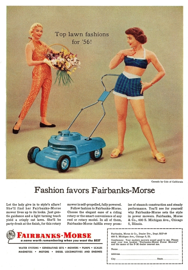 """1956. """"Kijk schatje, deze matched je outfit. Mow yourself silly!"""""""