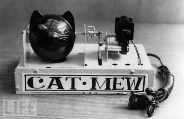 Produceert geluiden van een kat om muizen te verjagen.  Okay, okay, kinda cool. En toch ben ik blij dat ik gewoon twee échte kittens in huis heb!