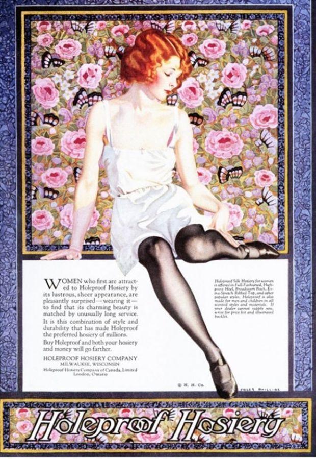"""Vintage reclame uit 1920 voor """"holeproof hosiery."""" Ladderende panty's en kousen zijn áltijd een issue geweest voor vrouwen."""