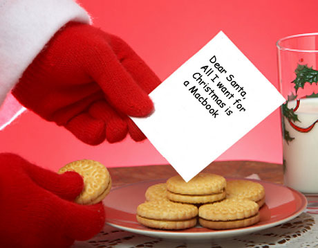 Cookies and milk left out for Santa, with a child's Christmas list.