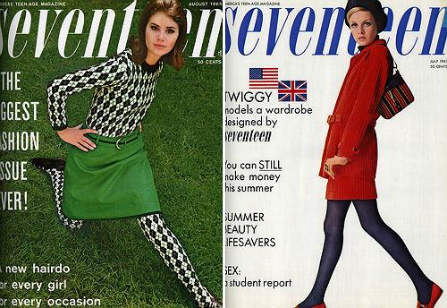 Panty'ss gedragen door Twiggy op de cover van Seventeen Magazine. Jaren 60.