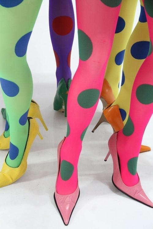 KLeurrijke Mary Quant panty's in de jaren 60.