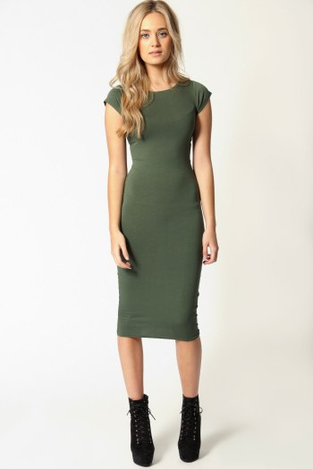 Basic Midi Dress in Khaki.