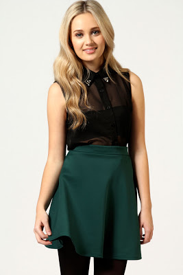 Skater Skirt in bottle green.