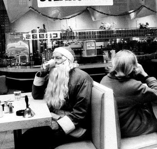 Santa on a coffee break, 1962.