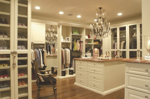 classy-walk-in-closet-decorating-ideas-with-unique-chandelier-and-lots-of-wooden-armoire-1024x682