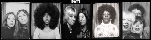 Women in photo booth 1920s -1970s