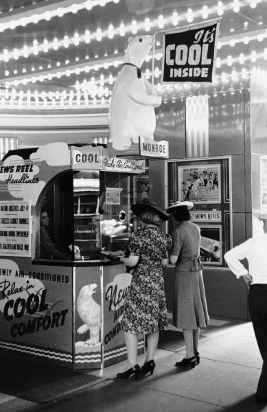 Air conditioning in de bios, jaren 40.