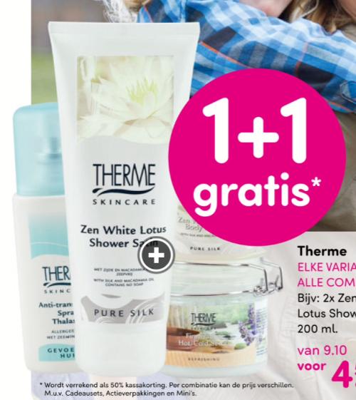 1+1 gratis, dit geldt voor alle producten van Therme. Waaronder mijn favoriete deodorant waar ik over vertel in