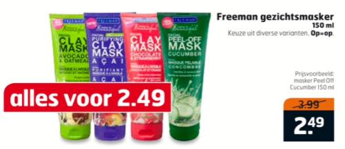 Freeman gezichtsmaskers. Altijd al zeer budget te noemen, nu helemaal goedkoop. Met zo'n grote tube doe je eindeloos lang, en de werking is zeer prima voor deze kleine prijs. Score!
